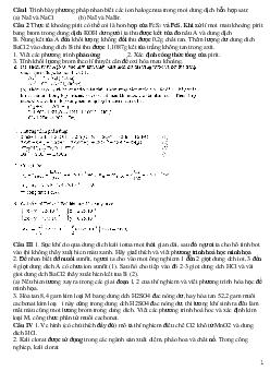 Bài tập về hóa học vô cơ dành cho HSG lớp 9 có đáp án, chọn lọc