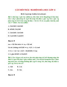 Trắc nghiệm Luyện tập: Andehit, Axit cacboxylic có đáp án - Hóa học lớp 11