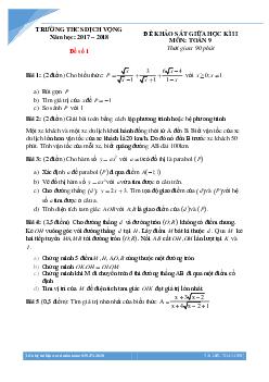 20 đề giữa kì 2 môn toán lớp 9 các trường Hà Nội