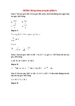 Trắc nghiệm Hệ thức lượng trong tam giác (phần 1) có đáp án – Toán lớp 10
