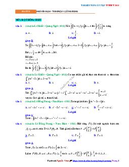 Chuyên đề Tích phân - mức độ thông hiểu có đáp án môn Toán lớp 12