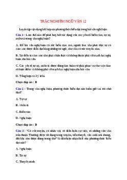 Trắc nghiệm Luyện tập vận dụng kết hợp các phương thức biểu đạt trong bài văn nghị luận có đáp án – Ngữ văn lớp 12