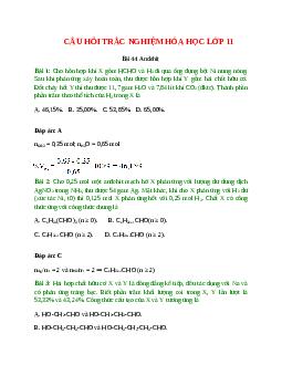 Trắc nghiệm Andehit có đáp án - Hóa học lớp 11