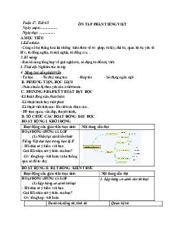 Giáo án ngữ văn lớp 7 Tuần 17 Tiết 65: Ôn tập phần tiếng việt mới nhất