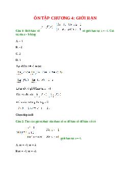 Trắc nghiệm Ôn tập chương 4: Giới hạn có đáp án – Toán lớp 11 (Phần 2)