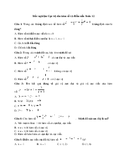 22 Câu trắc nghiệm môn Toán 12: Cực trị của hàm số và điểm uốn có đáp án