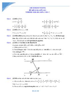 Bộ đề giữa kì 1 môn toán lớp 7 Hà Nội năm 2021