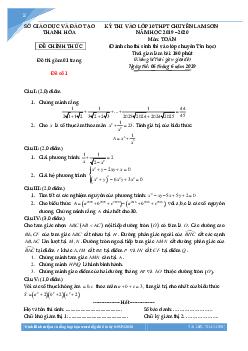 Tuyển tập đề thi vào lớp 10 môn toán Chuyên Lam Sơn