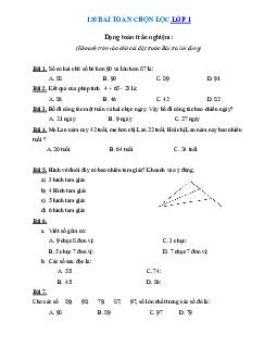 120 bài toán chọn lọc môn Toán lớp 1