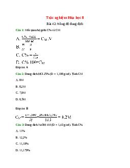 Trắc nghiệm Nồng độ dung dịch có đáp án – Hóa học lớp 8