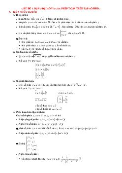 Dạng toán và các phép toán trên tập hợp số phức