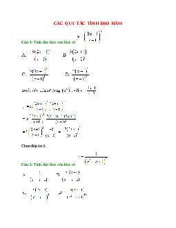 Trắc nghiệm Các quy tắc tính đạo hàm có đáp án – Toán lớp 11 (Phần 2)