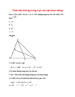 Trắc nghiệm Tính chất đường trung trực của một đoạn thẳng có đáp án – Toán lớp 7