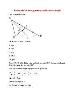 Trắc nghiệm Tính chất ba đường trung tuyến của tam giác có đáp án – Toán lớp 7