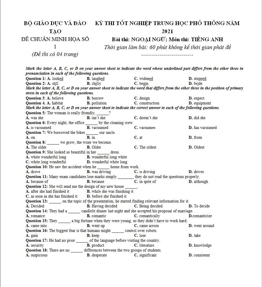 Đề thi thử THPT QG 2021 môn Tiếng Anh lớp 12 có đáp án chi tiết (4 đề)