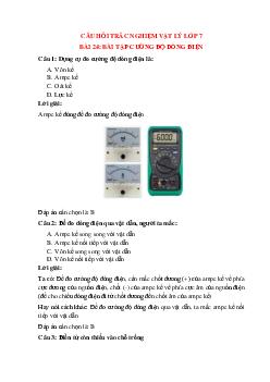 Trắc nghiệm Cường độ dòng điện có đáp án – Vật lí lớp 7