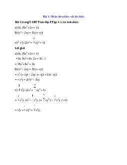Giải bài Làm tính nhân: 3x. (5x^2 – 2x – 1) chi tiết