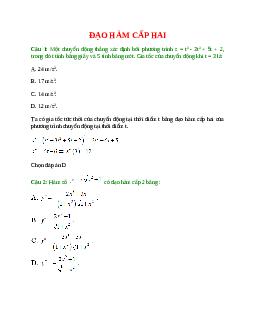 Trắc nghiệm Đạo hàm cấp hai có đáp án – Toán lớp 11