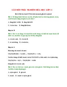 Trắc nghiệm Bài thực hành 5: Tính chất của etanol, glixerol và phenol có đáp án - Hóa học lớp 11