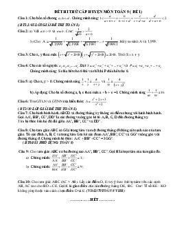 Tuyển chọn đề thi học sinh giỏi toán lớp 9