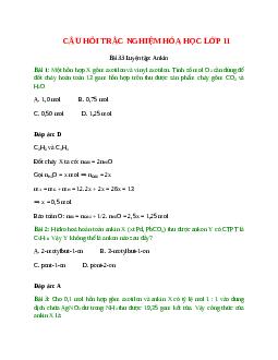 Trắc nghiệm Luyện tập: Ankin có đáp án – Hóa học lớp 11