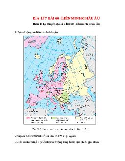 Địa Lí 7 Bài 60: Liên minh Châu Âu