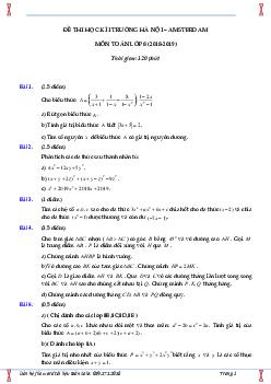 Bộ đề thi học kì 1 môn toán lớp 8 trường Amsterdam