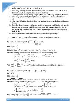 Chuyên đề phương trình vô tỷ bồi dưỡng học sinh giỏi