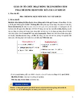 Giáo án hóa học 9 STEM về hoạt động trải nghiệm làm nước rửa tay khô mới nhất