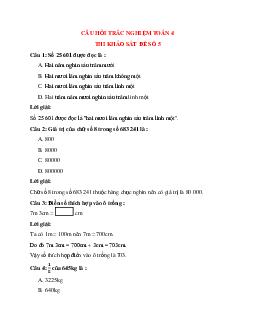 Trắc nghiệm Thi khảo sát đề số 5 có đáp án – Toán lớp 4