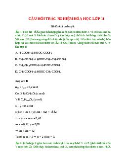 Trắc nghiệm Axit cacboxylic có đáp án - Hóa học lớp 11