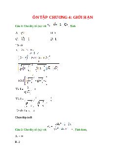 Trắc nghiệm Ôn tập chương 4: Giới hạn có đáp án – Toán lớp 11 (Phần 1)
