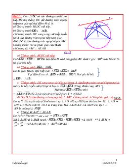 Các bài hình học trong đề toán tuyển sinh lớp 10 năm 2019