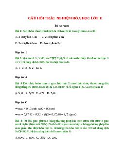 Trắc nghiệm Ancol có đáp án – Hóa học lớp 11