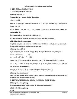 Đại cương về phương trình môn Toán lớp 10