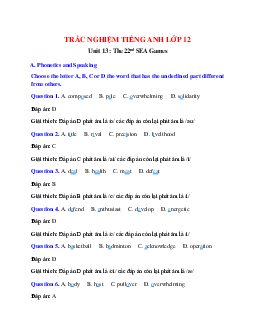 Trắc nghiệm Tiếng Anh 12 Unit 13 có đáp án: The 22nd SEA Games
