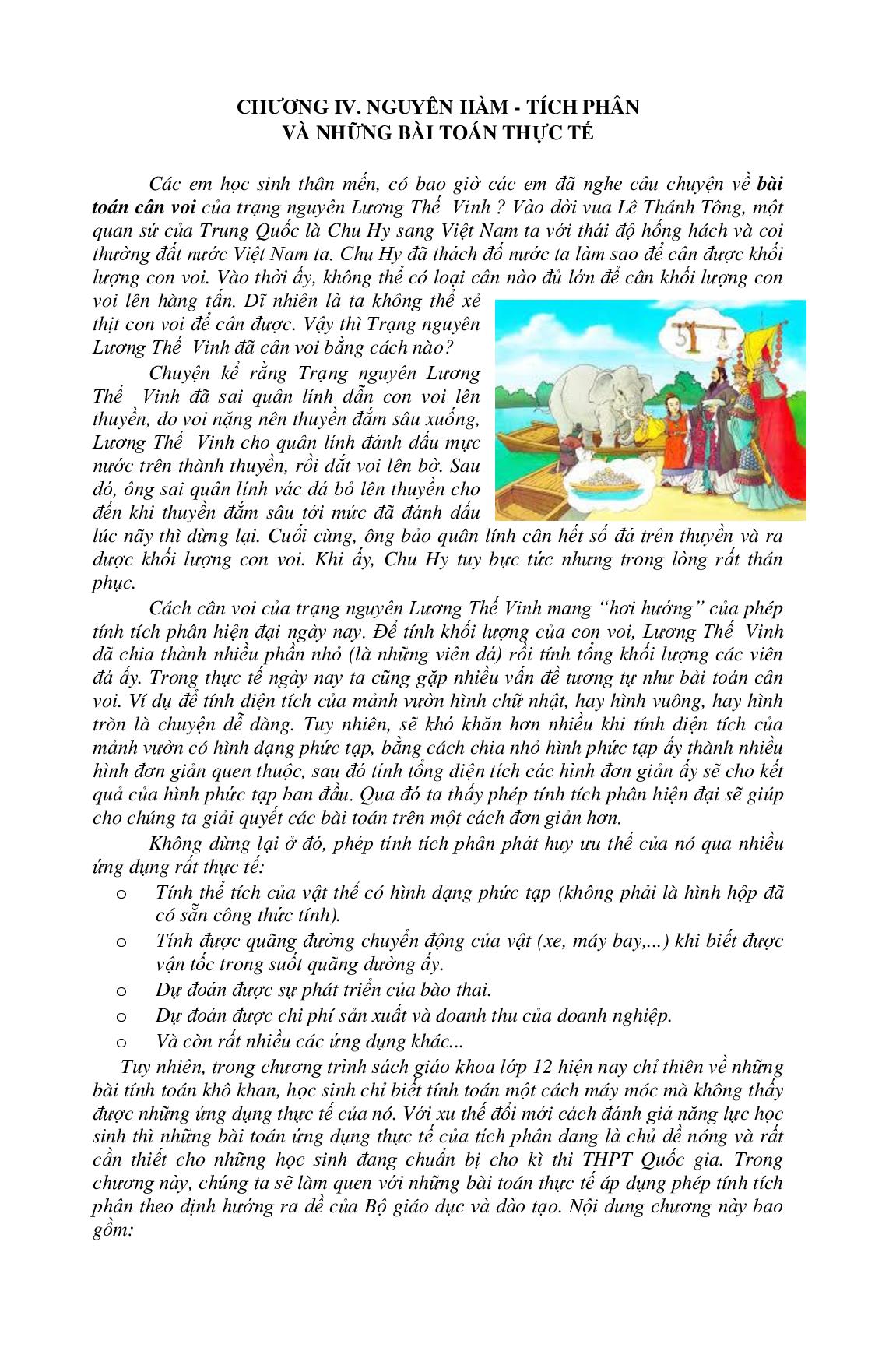 Lý thuyết và bài tập Nguyên hàm tích phân chọn lọc (trang 1)