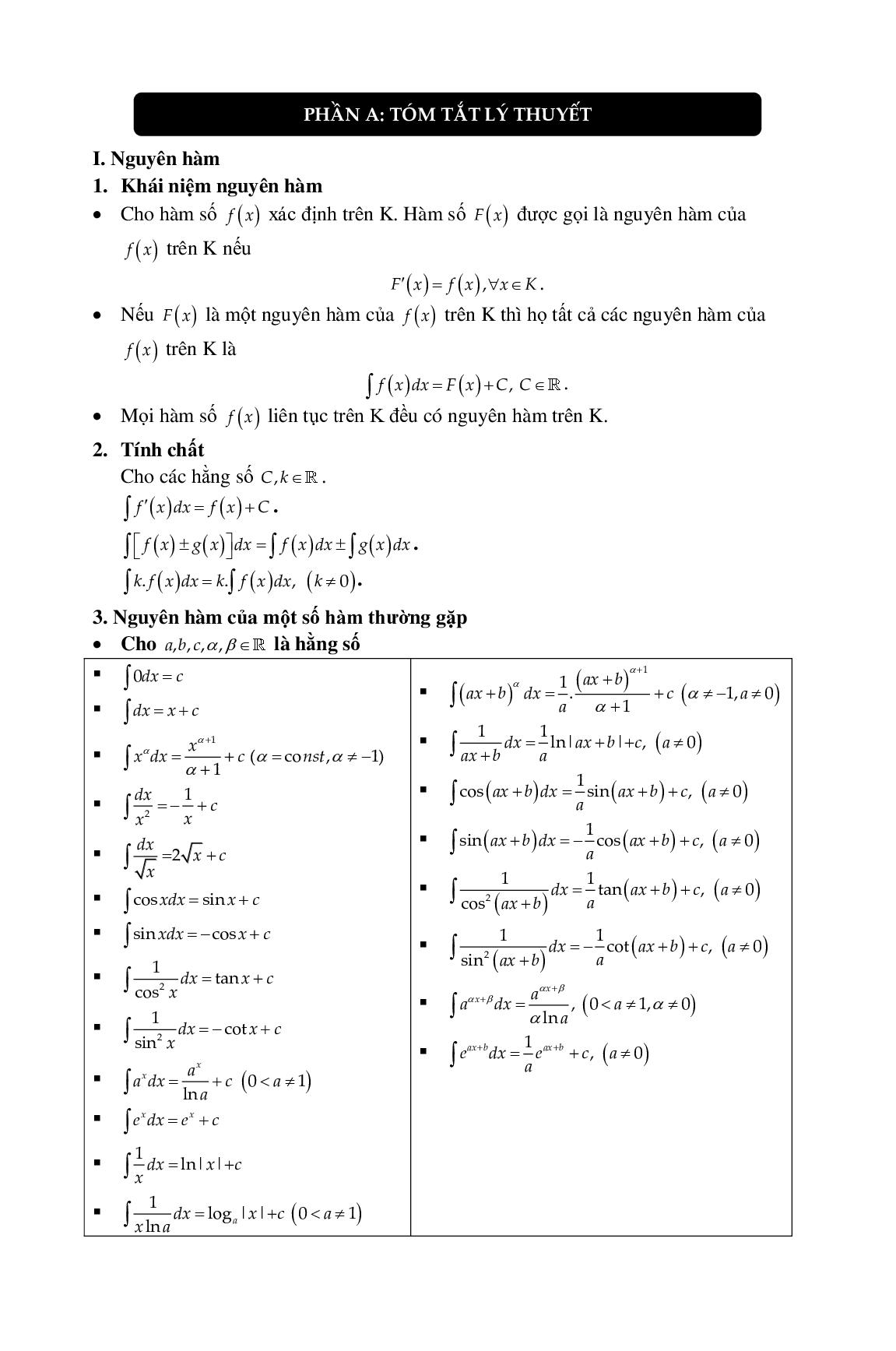 Lý thuyết và bài tập Nguyên hàm tích phân chọn lọc (trang 3)