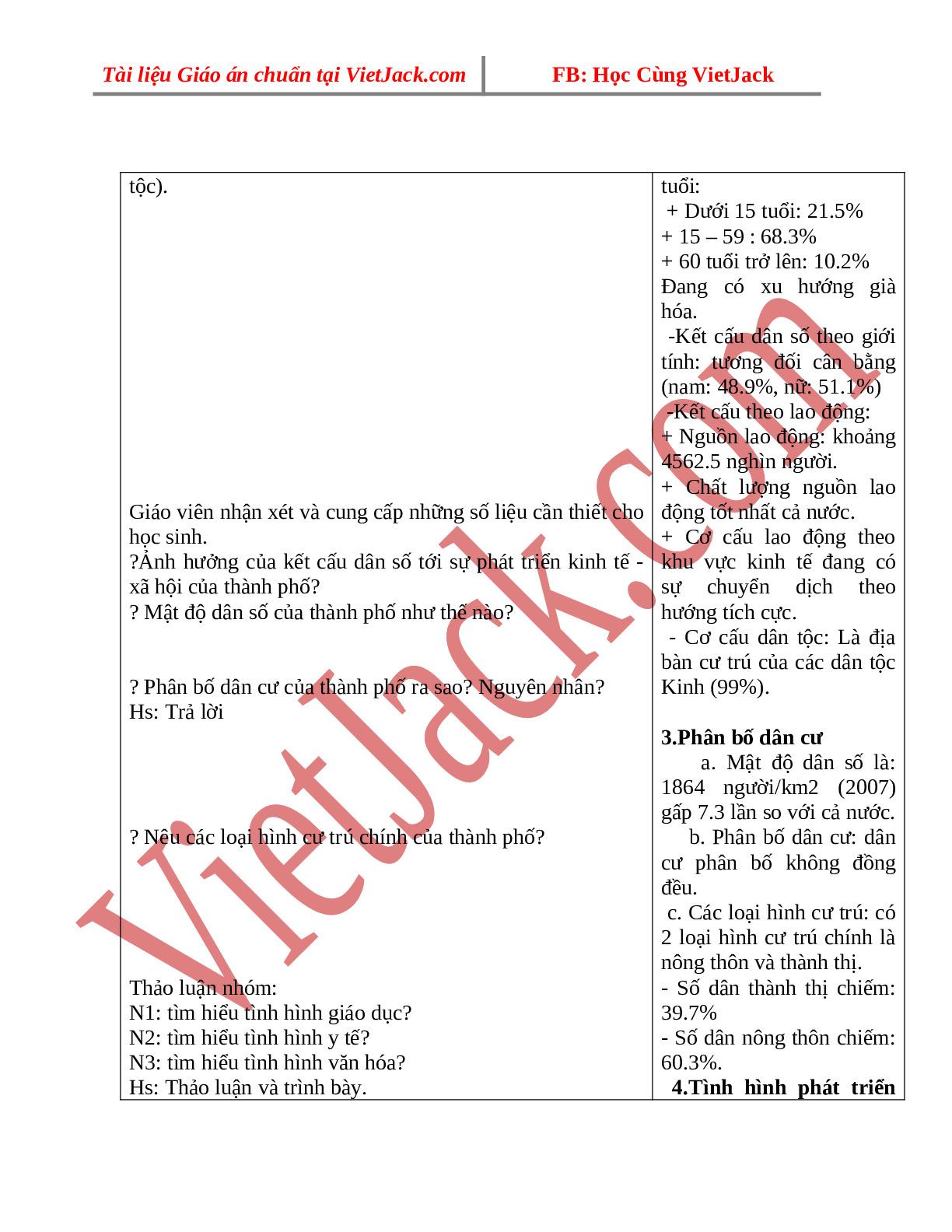 Giáo án Địa Lí 9 Bài 42: Địa lí tỉnh thành phố (tiếp theo) (trang 2)